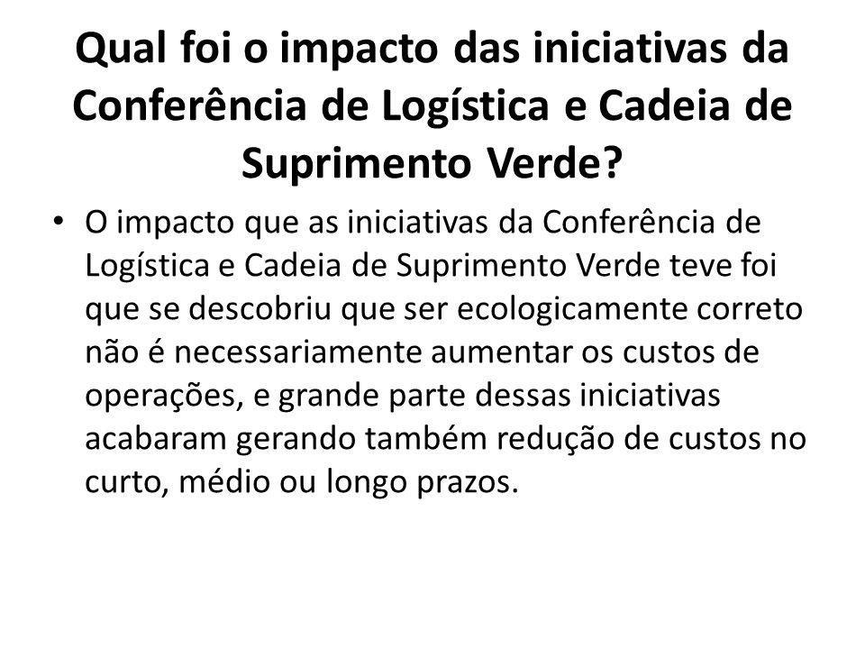 Qual foi o impacto das iniciativas da Conferência de Logística e Cadeia de Suprimento Verde? O impacto que as iniciativas da Conferência de Logística