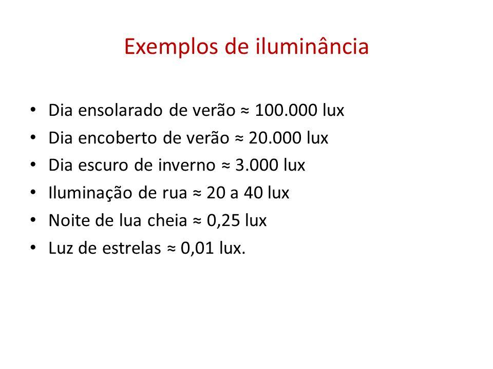 Exemplos de iluminância Dia ensolarado de verão 100.000 lux Dia encoberto de verão 20.000 lux Dia escuro de inverno 3.000 lux Iluminação de rua 20 a 4