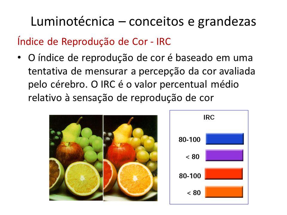Luminotécnica – conceitos e grandezas Índice de Reprodução de Cor - IRC O índice de reprodução de cor é baseado em uma tentativa de mensurar a percepç