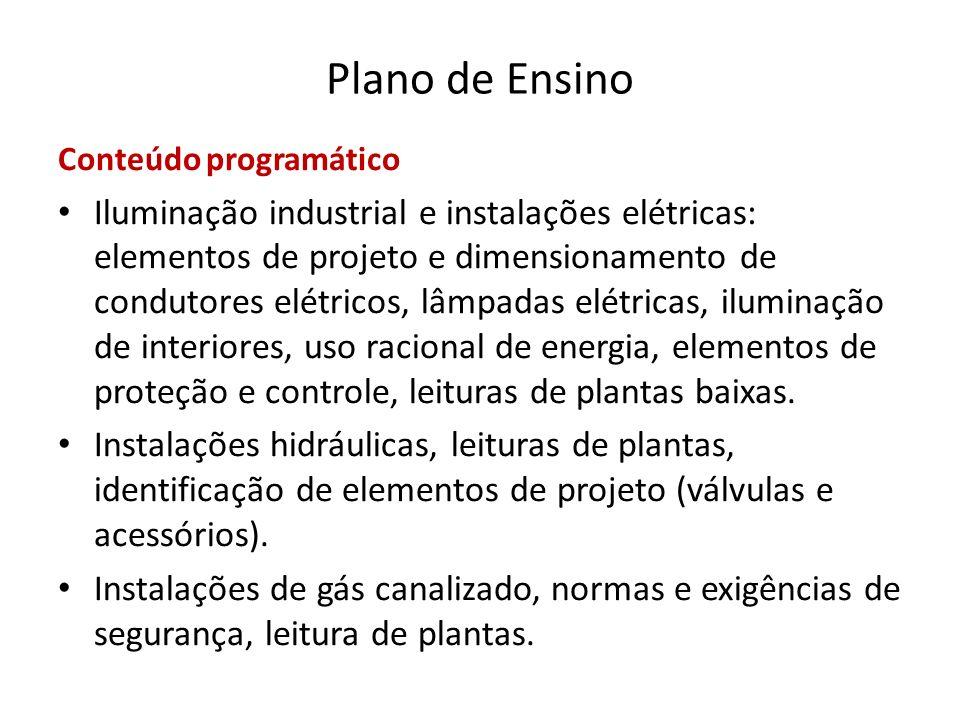Plano de Ensino Conteúdo programático Iluminação industrial e instalações elétricas: elementos de projeto e dimensionamento de condutores elétricos, l