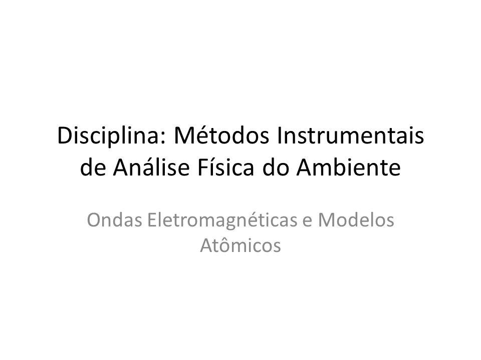 Disciplina: Métodos Instrumentais de Análise Física do Ambiente Ondas Eletromagnéticas e Modelos Atômicos