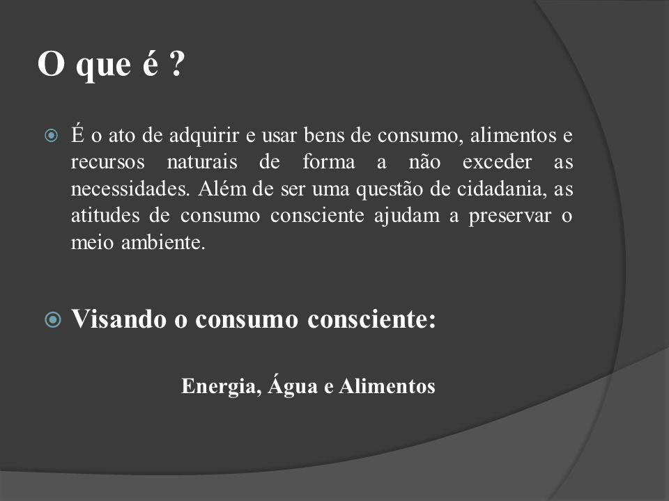 O que é ? É o ato de adquirir e usar bens de consumo, alimentos e recursos naturais de forma a não exceder as necessidades. Além de ser uma questão de