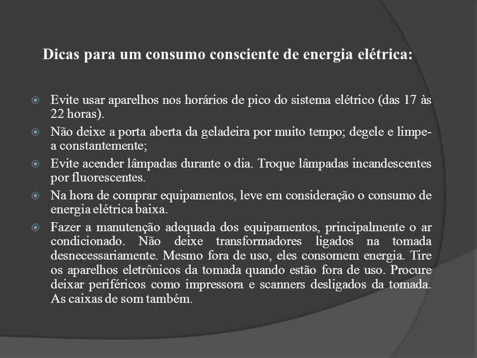 Dicas para um consumo consciente de energia elétrica: Evite usar aparelhos nos horários de pico do sistema elétrico (das 17 às 22 horas). Não deixe a