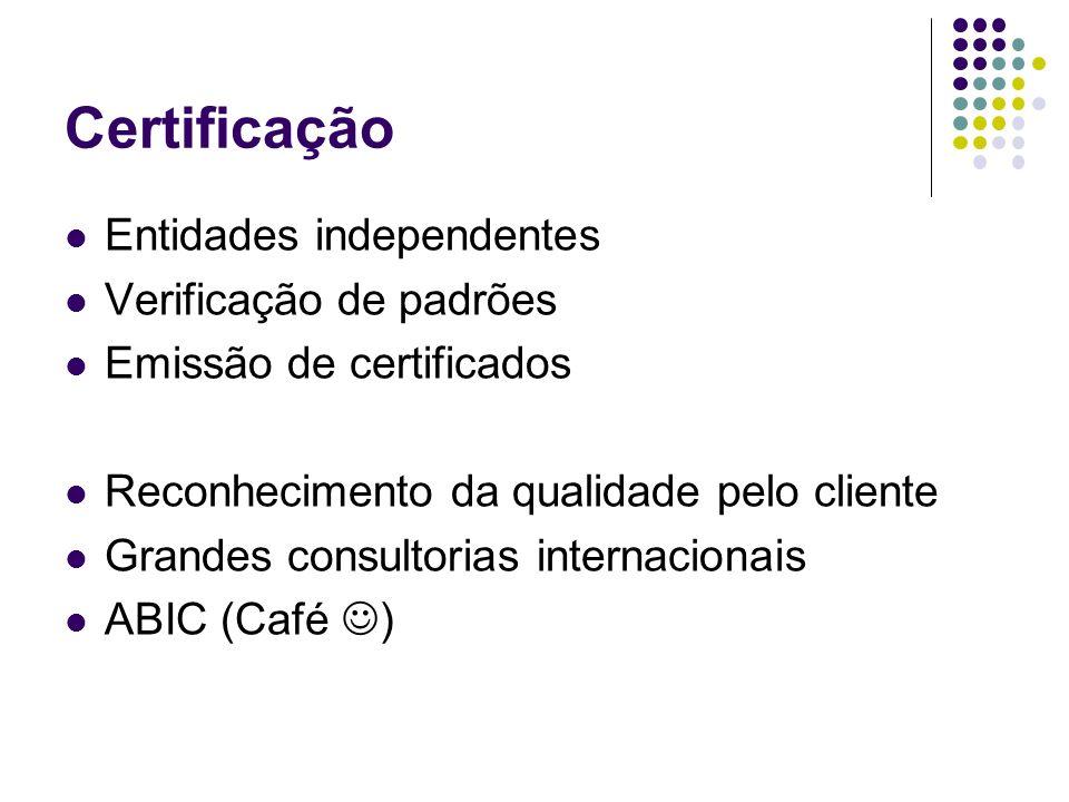 Certificação Entidades independentes Verificação de padrões Emissão de certificados Reconhecimento da qualidade pelo cliente Grandes consultorias inte