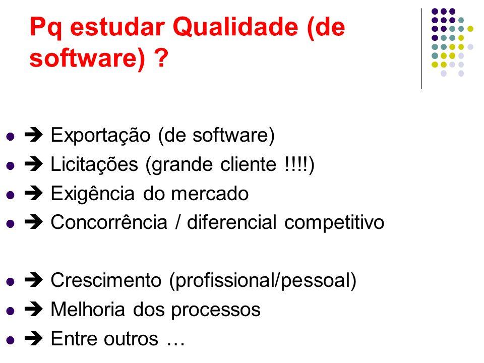 Pq estudar Qualidade (de software) ? Exportação (de software) Licitações (grande cliente !!!!) Exigência do mercado Concorrência / diferencial competi