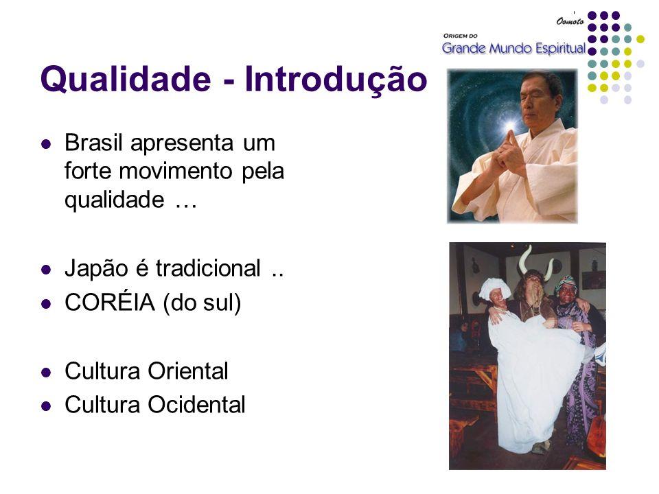 Qualidade - Introdução Brasil apresenta um forte movimento pela qualidade … Japão é tradicional.. CORÉIA (do sul) Cultura Oriental Cultura Ocidental