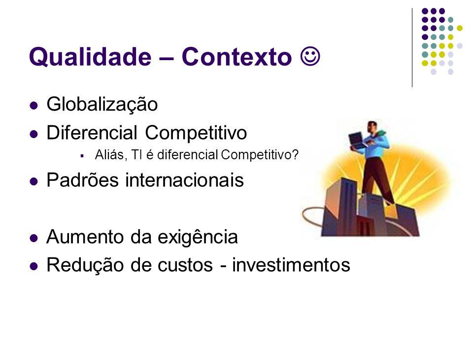 Qualidade – Contexto Globalização Diferencial Competitivo Aliás, TI é diferencial Competitivo? Padrões internacionais Aumento da exigência Redução de