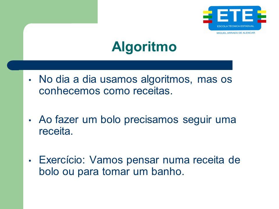 Algoritmo No dia a dia usamos algoritmos, mas os conhecemos como receitas.