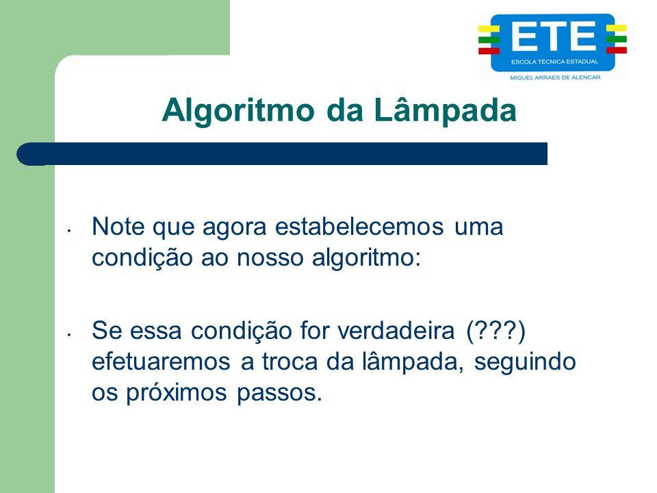 Algoritmo da Lâmpada Note que agora estabelecemos uma condição ao nosso algoritmo: Se essa condição for verdadeira (???) efetuaremos a troca da lâmpada, seguindo os próximos passos.