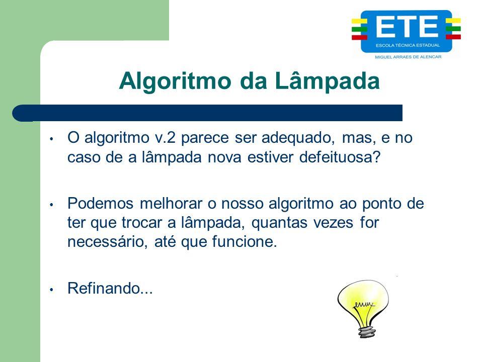 Algoritmo da Lâmpada O algoritmo v.2 parece ser adequado, mas, e no caso de a lâmpada nova estiver defeituosa.