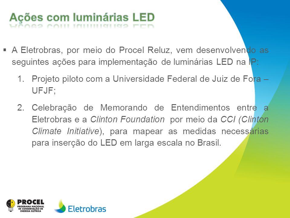 A Eletrobras, por meio do Procel Reluz, vem desenvolvendo as seguintes ações para implementação de luminárias LED na IP: 1.Projeto piloto com a Univer