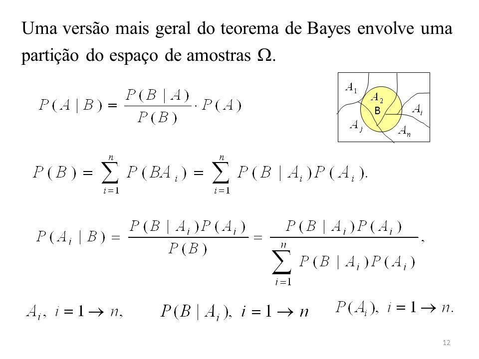 12 Uma versão mais geral do teorema de Bayes envolve uma partição do espaço de amostras. B