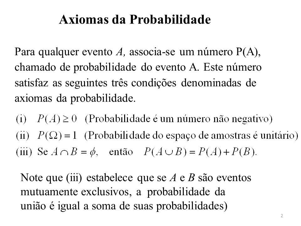 2 Axiomas da Probabilidade Para qualquer evento A, associa-se um número P(A), chamado de probabilidade do evento A. Este número satisfaz as seguintes