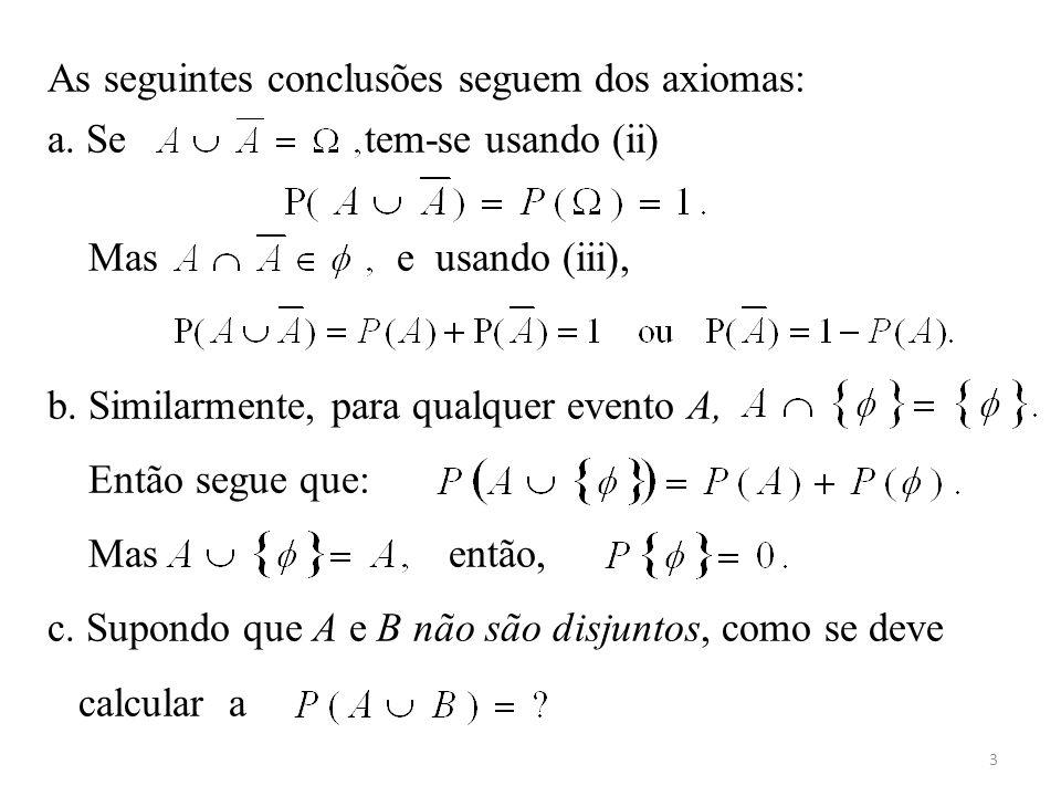 3 As seguintes conclusões seguem dos axiomas: a. Se tem-se usando (ii) Mas e usando (iii), b. Similarmente, para qualquer evento A, Então segue que: M