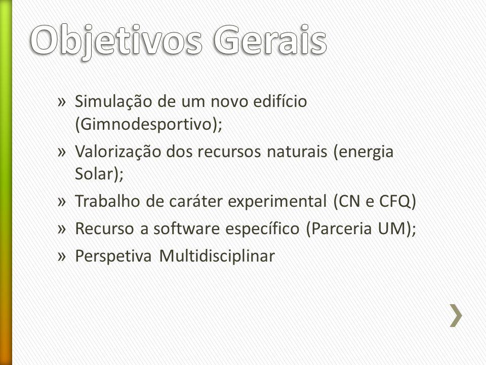 » Simulação de um novo edifício (Gimnodesportivo); » Valorização dos recursos naturais (energia Solar); » Trabalho de caráter experimental (CN e CFQ)