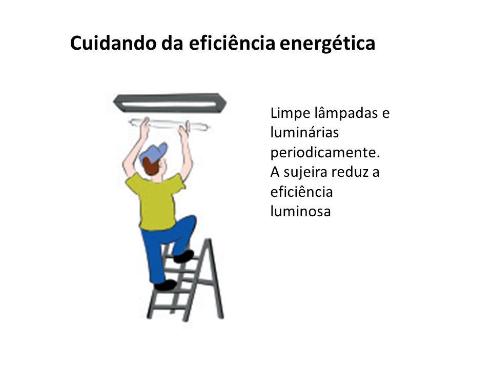 Cuidando da eficiência energética Limpe lâmpadas e luminárias periodicamente.