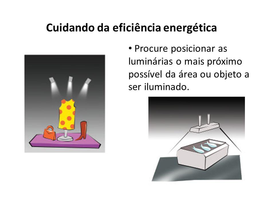 Cuidando da eficiência energética Procure posicionar as luminárias o mais próximo possível da área ou objeto a ser iluminado.