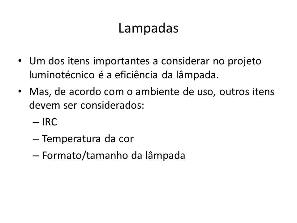 Lampadas Um dos itens importantes a considerar no projeto luminotécnico é a eficiência da lâmpada.