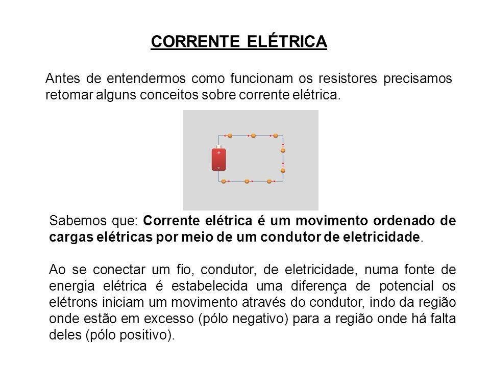 Antes de entendermos como funcionam os resistores precisamos retomar alguns conceitos sobre corrente elétrica. CORRENTE ELÉTRICA Sabemos que: Corrente