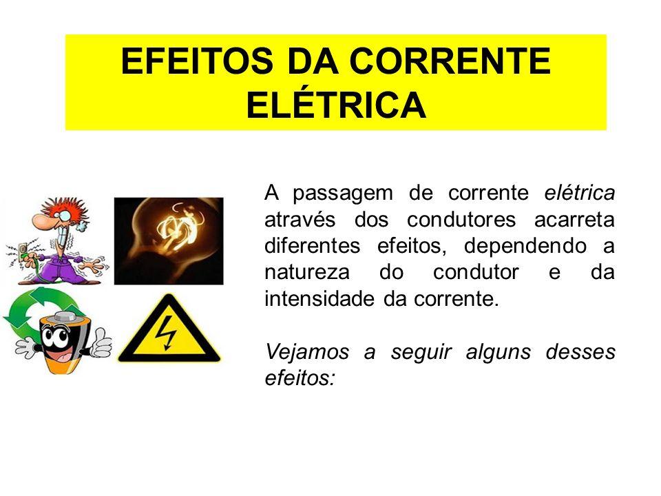EFEITOS DA CORRENTE ELÉTRICA A passagem de corrente elétrica através dos condutores acarreta diferentes efeitos, dependendo a natureza do condutor e d