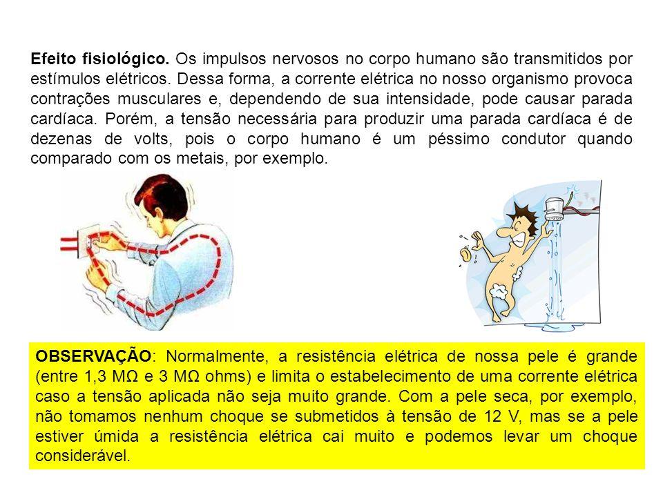 Efeito fisiológico. Os impulsos nervosos no corpo humano são transmitidos por estímulos elétricos. Dessa forma, a corrente elétrica no nosso organismo
