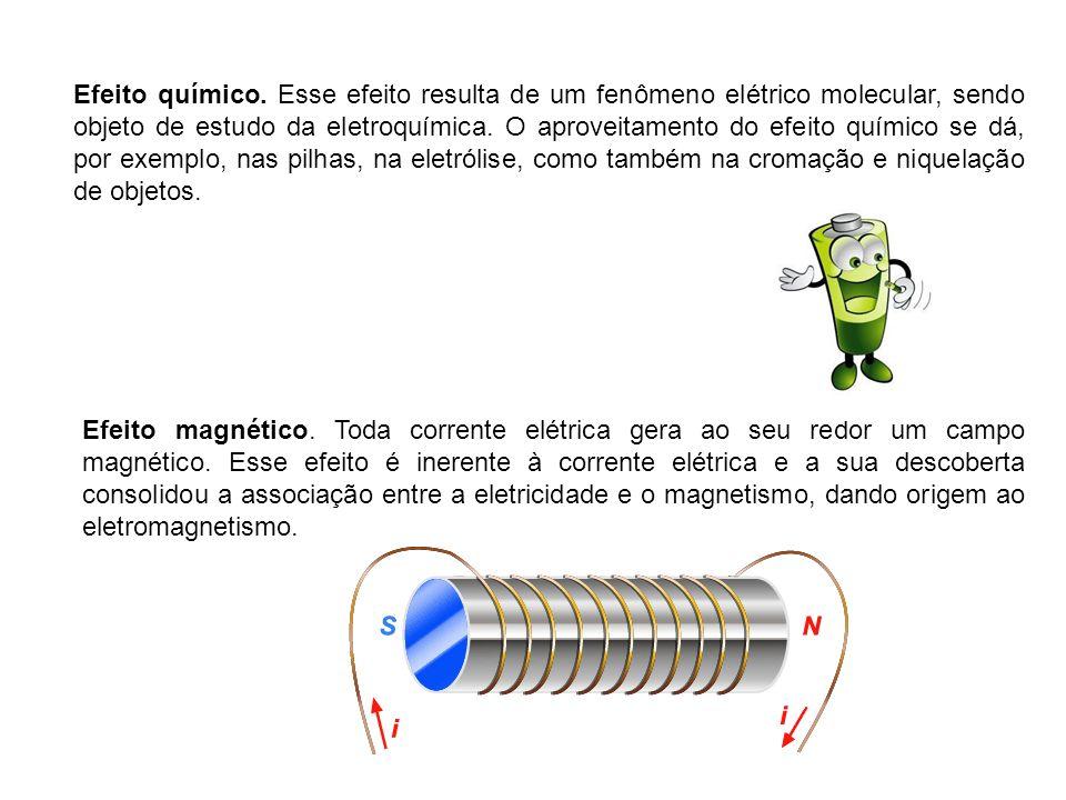 Efeito químico. Esse efeito resulta de um fenômeno elétrico molecular, sendo objeto de estudo da eletroquímica. O aproveitamento do efeito químico se