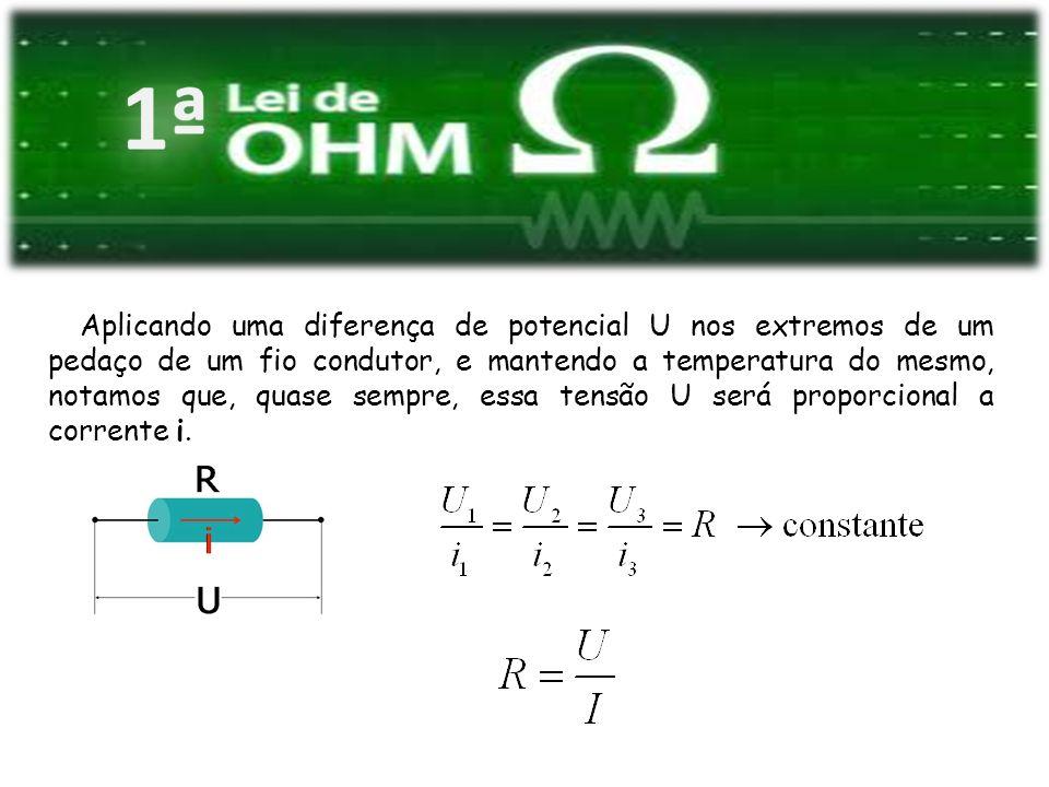Aplicando uma diferença de potencial U nos extremos de um pedaço de um fio condutor, e mantendo a temperatura do mesmo, notamos que, quase sempre, ess