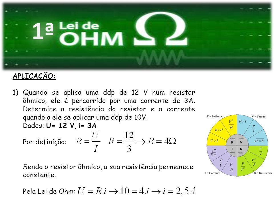 APLICAÇÃO: 1)Quando se aplica uma ddp de 12 V num resistor ôhmico, ele é percorrido por uma corrente de 3A. Determine a resistência do resistor e a co