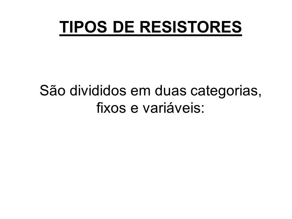 TIPOS DE RESISTORES São divididos em duas categorias, fixos e variáveis: