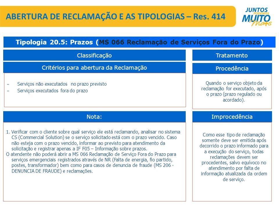 – Serviços não executados no prazo previsto – Serviços executados fora do prazo Critérios para abertura da Reclamação Tipologia 20.5: Prazos (MS 066 R