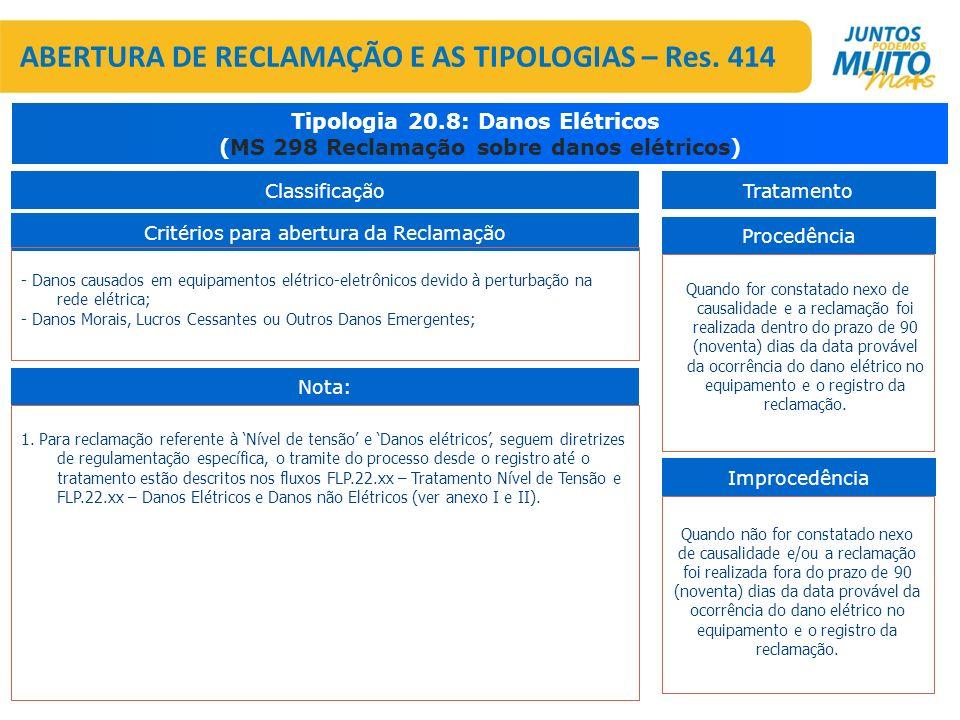 Critérios para abertura da Reclamação Tipologia 20.8: Danos Elétricos (MS 298 Reclamação sobre danos elétricos) Procedência Improcedência Quando for c