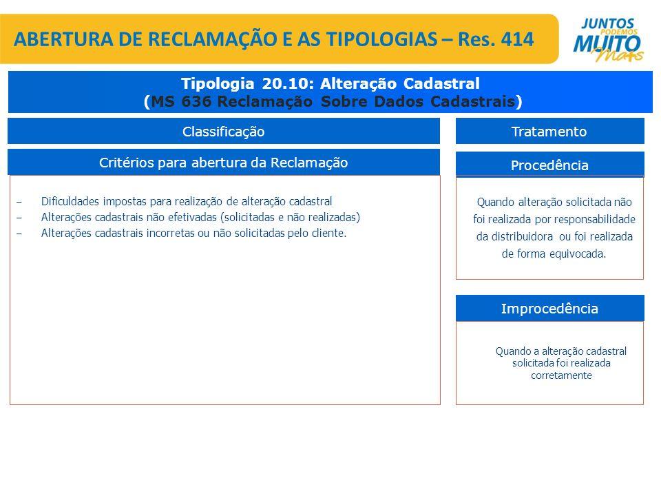 – Dificuldades impostas para realização de alteração cadastral – Alterações cadastrais não efetivadas (solicitadas e não realizadas) – Alterações cada