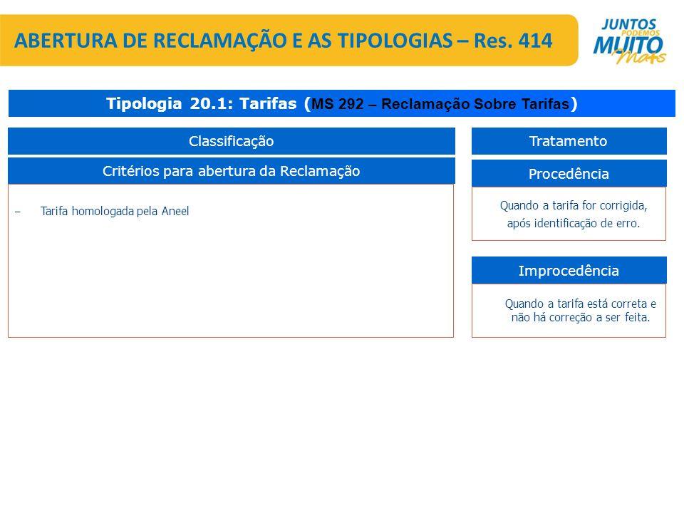 – Tarifa homologada pela Aneel Critérios para abertura da Reclamação Tipologia 20.1: Tarifas ( MS 292 – Reclamação Sobre Tarifas ) Procedência Improce
