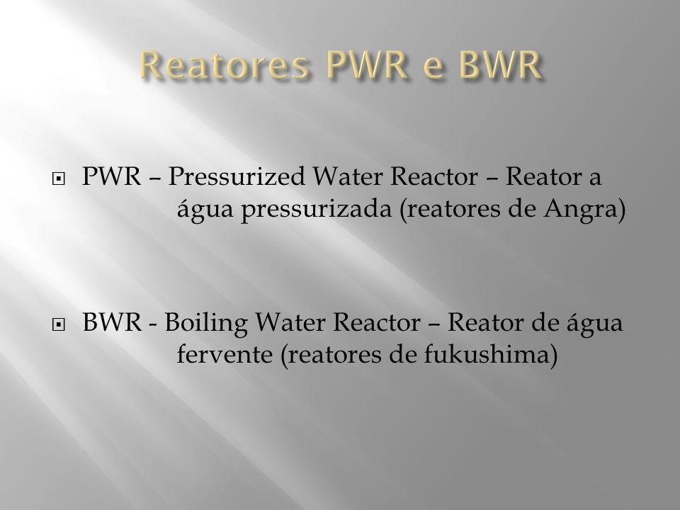 PWR – Pressurized Water Reactor – Reator a água pressurizada (reatores de Angra) BWR - Boiling Water Reactor – Reator de água fervente (reatores de fu