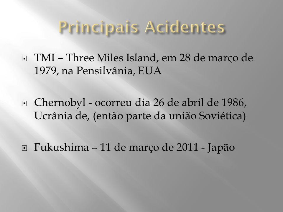 TMI – Three Miles Island, em 28 de março de 1979, na Pensilvânia, EUA Chernobyl - ocorreu dia 26 de abril de 1986, Ucrânia de, (então parte da união S