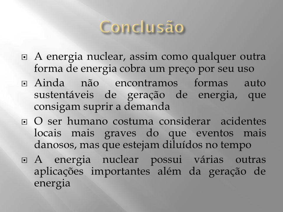 A energia nuclear, assim como qualquer outra forma de energia cobra um preço por seu uso Ainda não encontramos formas auto sustentáveis de geração de