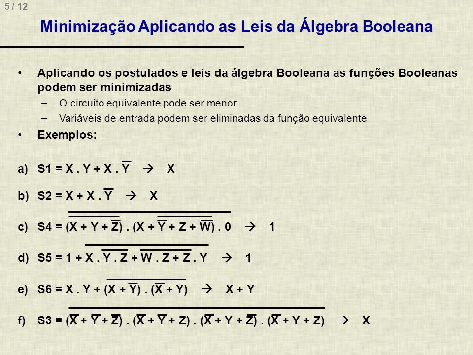 5 / 12 Minimização Aplicando as Leis da Álgebra Booleana Aplicando os postulados e leis da álgebra Booleana as funções Booleanas podem ser minimizadas
