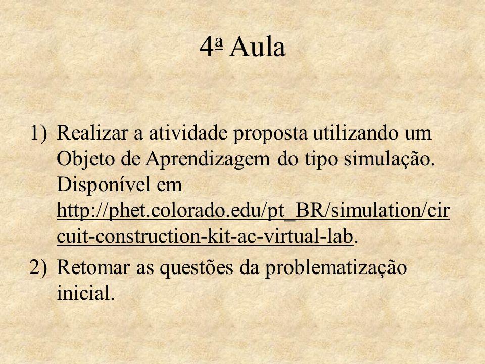 4 a Aula 1)Realizar a atividade proposta utilizando um Objeto de Aprendizagem do tipo simulação. Disponível em http://phet.colorado.edu/pt_BR/simulati
