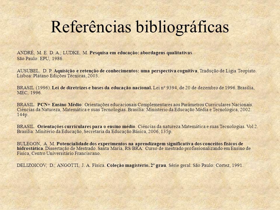 Referências bibliográficas ANDRÉ, M. E. D. A.; LUDKE, M. Pesquisa em educação: abordagens qualitativas. São Paulo: EPU, 1986. AUSUBEL, D. P. Aquisição