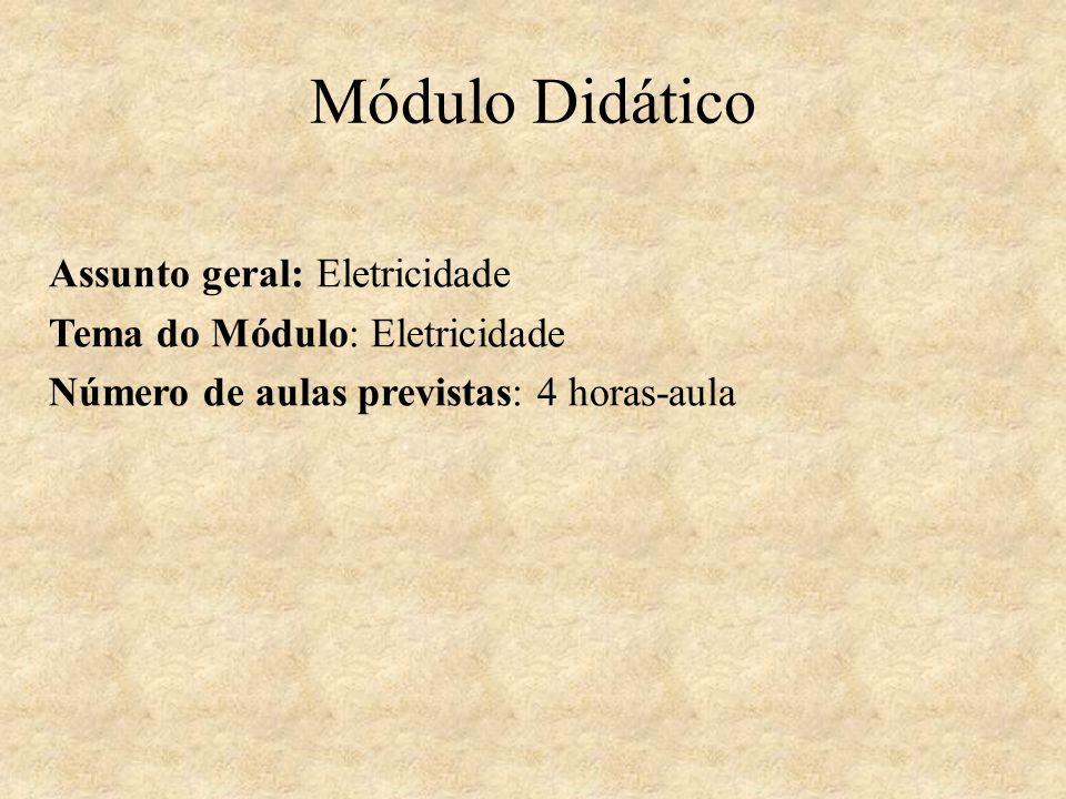 Módulo Didático Assunto geral: Eletricidade Tema do Módulo: Eletricidade Número de aulas previstas: 4 horas-aula
