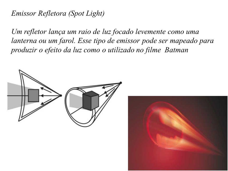 Emissor Refletora (Spot Light) Um refletor lança um raio de luz focado levemente como uma lanterna ou um farol.