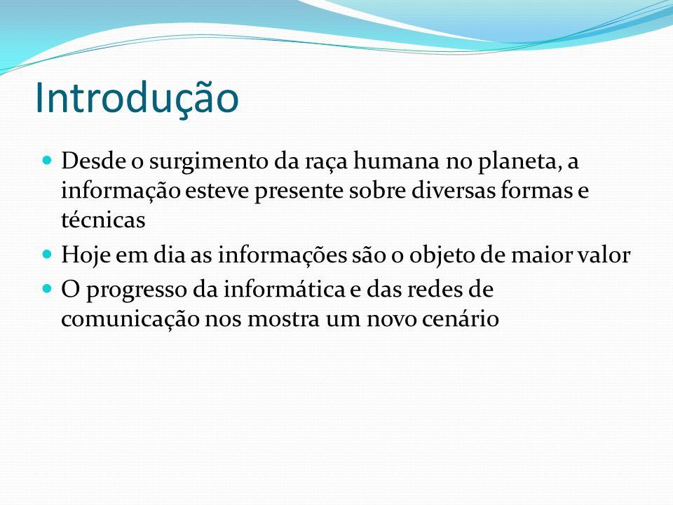 Introdução Desde o surgimento da raça humana no planeta, a informação esteve presente sobre diversas formas e técnicas Hoje em dia as informações são