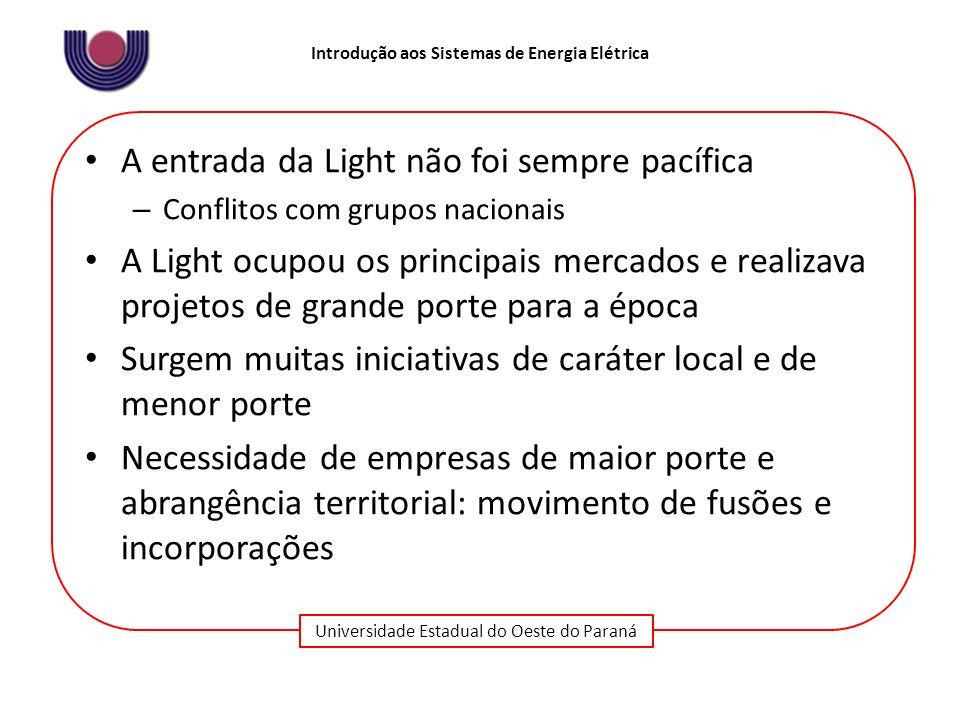 Universidade Estadual do Oeste do Paraná Introdução aos Sistemas de Energia Elétrica A entrada da Light não foi sempre pacífica – Conflitos com grupos