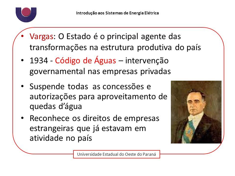 Universidade Estadual do Oeste do Paraná Introdução aos Sistemas de Energia Elétrica Vargas: O Estado é o principal agente das transformações na estru