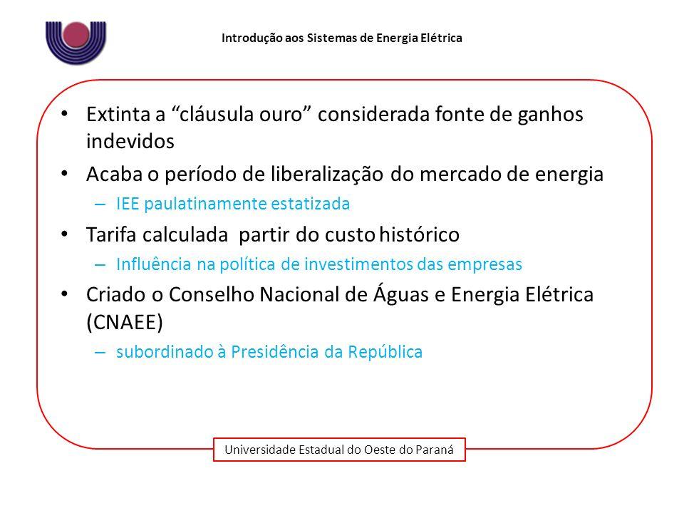 Universidade Estadual do Oeste do Paraná Introdução aos Sistemas de Energia Elétrica Extinta a cláusula ouro considerada fonte de ganhos indevidos Aca
