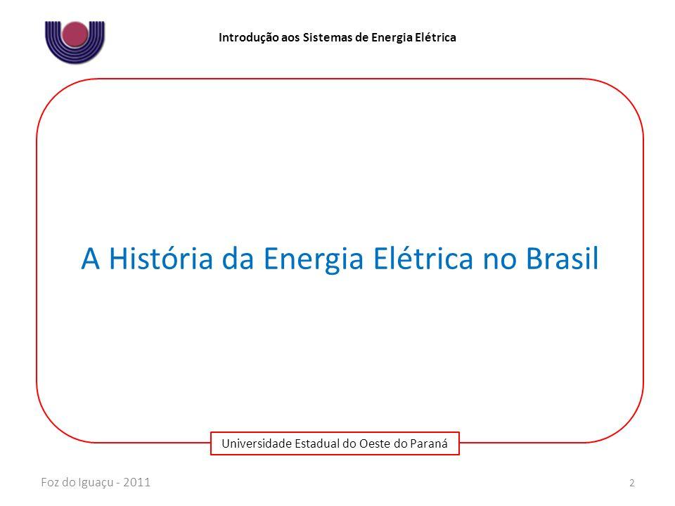 Universidade Estadual do Oeste do Paraná Introdução aos Sistemas de Energia Elétrica Até 1985 – segundo choque dos preços do petróleo – alta de juros no mercado internacional – a inflação americana e a inflação brasileira Mudança na estrutura de financiamento, promovendo uma diminuição na participação dos recursos setoriais e aumento da participação dos recursos extra-setoriais - empréstimos obtidos no exterior Tomada de financiamento pela Eletrobrás no país e no exterior atingindo 33% A taxa de investimentos elevou-se em 1976 e 1977 em grandes projetos às custas de endividamento externo Corte dos investimentos em 1981, 1983 e 1984