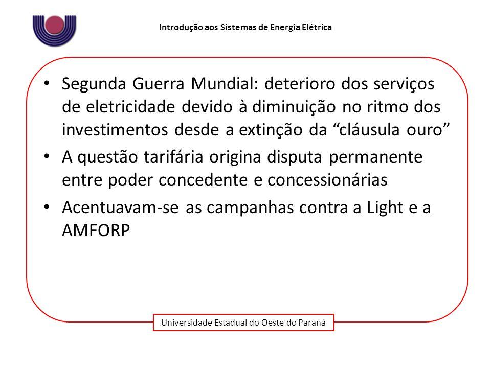Universidade Estadual do Oeste do Paraná Introdução aos Sistemas de Energia Elétrica Segunda Guerra Mundial: deterioro dos serviços de eletricidade de