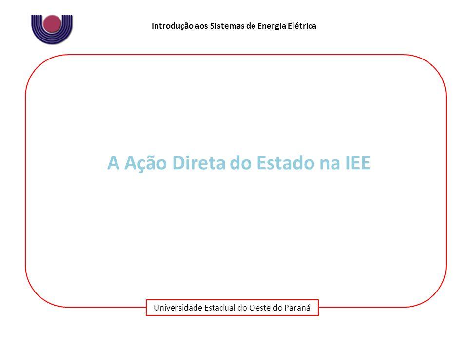 Universidade Estadual do Oeste do Paraná Introdução aos Sistemas de Energia Elétrica A Ação Direta do Estado na IEE