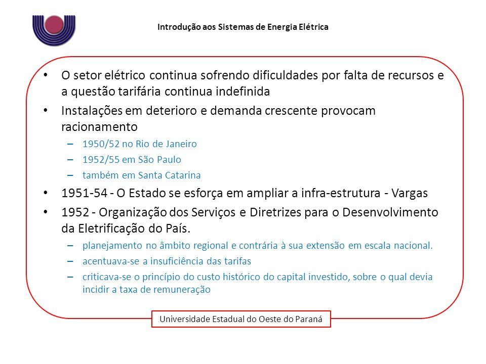 Universidade Estadual do Oeste do Paraná Introdução aos Sistemas de Energia Elétrica O setor elétrico continua sofrendo dificuldades por falta de recu