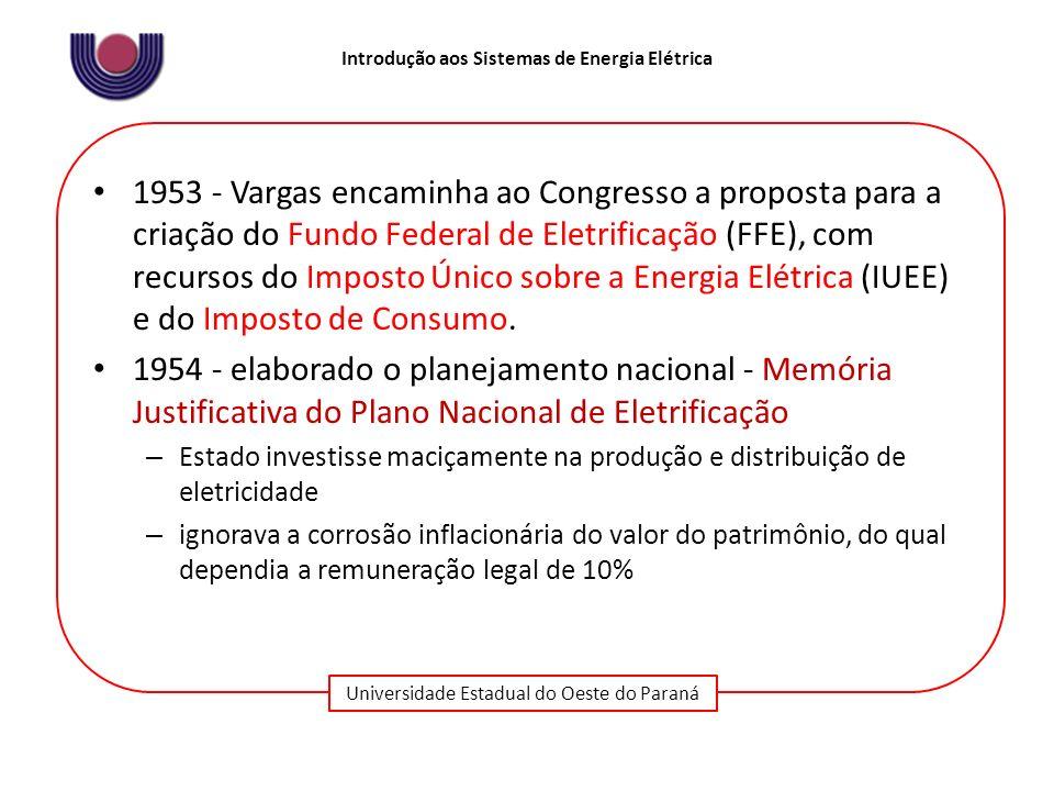 Universidade Estadual do Oeste do Paraná Introdução aos Sistemas de Energia Elétrica 1953 - Vargas encaminha ao Congresso a proposta para a criação do